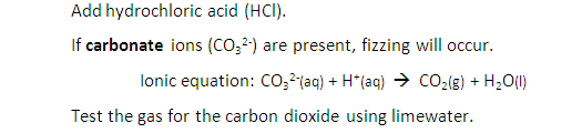 2:48  describe tests for these anions: Cl⁻, Br⁻ and I⁻ using acidified silver nitrate solution, SO₄²⁻ using acidified barium chloride solution, CO₃²⁻ using hydrochloric acid and identifying the gas evolved